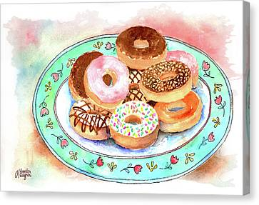 Plate Of Donuts Canvas Print by Arline Wagner