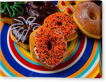 Plate Of Donuts Canvas Print by Garry Gay