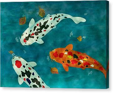 Playful Koi Fishes Original Acrylic Painting Canvas Print by Georgeta Blanaru