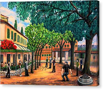 Playing Boules In St Paul De Vence Canvas Print by Ronald Haber