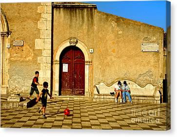 Playing In Taormina Canvas Print by Silvia Ganora