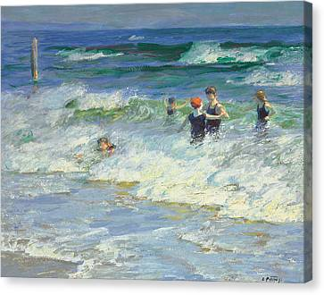 Playing In The Surf Canvas Print by Edward Henry Potthast