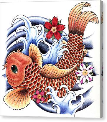 Playing Koi Canvas Print by Maria Arango