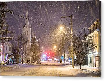 Pleasant Street Snow Canvas Print by Benjamin Williamson