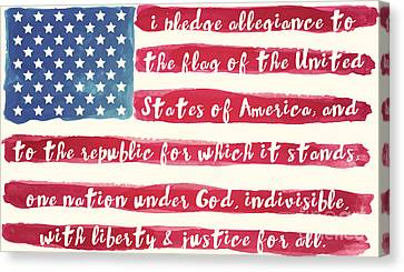 Pledge Of Allegiance American Flag Canvas Print by Mindy Sommers