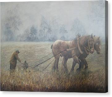 Plowing It The Old Way Canvas Print by Donna Tucker