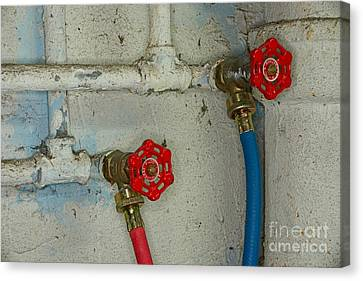 Plumbing Hot And Cold Water Canvas Print by Paul Ward