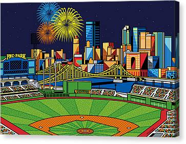 Pnc Park Fireworks Canvas Print by Ron Magnes