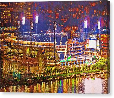 Pnc Park On A Light Up Night Canvas Print by Digital Photographic Arts