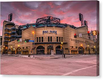 Pnc Park Sunrise, Pittsburgh, Pennsylvania, Usa Canvas Print by Joseph Heh