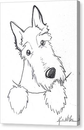 Pocket Scottie Sketch Canvas Print by Kim Niles