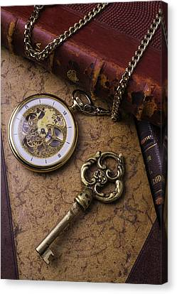 Pocket Watch And Old Key Canvas Print by Garry Gay