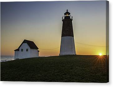 Point Judith Light At Sunset Canvas Print by Thomas Schoeller