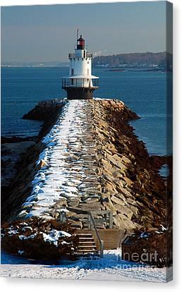 Point Spring Ledge Light - Lighthouse Seascape Landscape Rocky Coast Maine Canvas Print by Jon Holiday