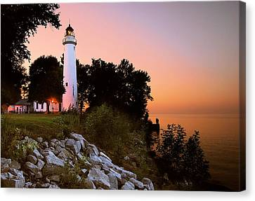 Pointe Aux Barques Canvas Print by Michael Peychich