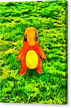 Pokemon Go Charmander - Da Canvas Print by Leonardo Digenio