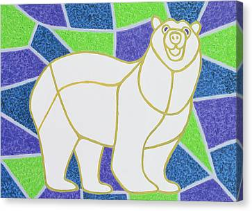 Polar Bear On Stained Glass Canvas Print by Pat Scott
