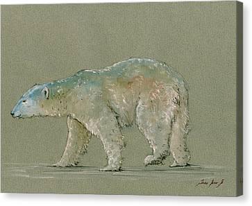 Polar Bear Original Watercolor Painting Art Canvas Print by Juan  Bosco