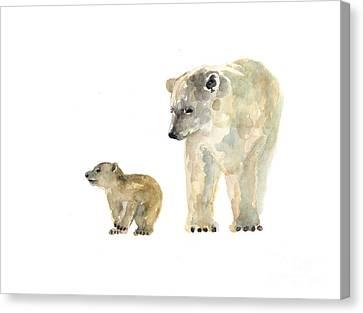 Polar Bears Watercolor Art Print Painting  Canvas Print by Joanna Szmerdt