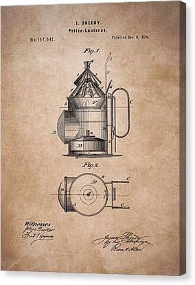 Police Lantern Patent Canvas Print by Dan Sproul