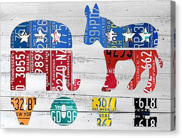 Political Party Election Vote Republican Vs Democrat Recycled Vintage Patriotic License Plate Art Canvas Print by Design Turnpike