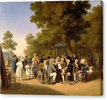 Politicians In The Tuileries Gardens Canvas Print by Louis Leopold Boilly