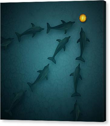 Polo Dolphins Canvas Print by Michael  Murray