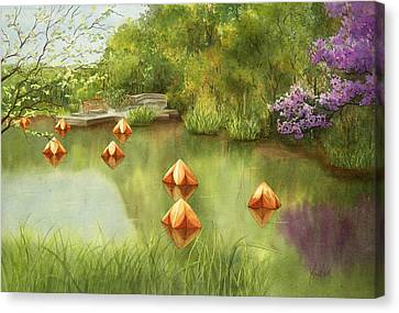 Pond At Olbrich Botanical Garden Canvas Print by Johanna Axelrod