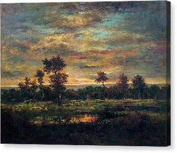 Pond At The Edge Of A Wood Canvas Print by Theodore Rousseau