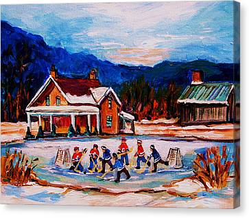 Pond Hockey Canvas Print by Carole Spandau