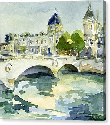Pont De Change Watercolor Paintings Of Paris Canvas Print by Beverly Brown