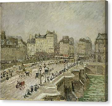 Pont Neuf Snow Effect Canvas Print by Camille Pissarro