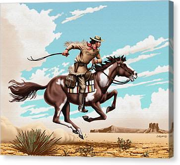 Pony Express Rider Historical Americana Painting Desert Scene Canvas Print by Walt Curlee