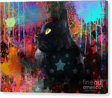 Pop Art Black Cat Painting Print Canvas Print by Svetlana Novikova
