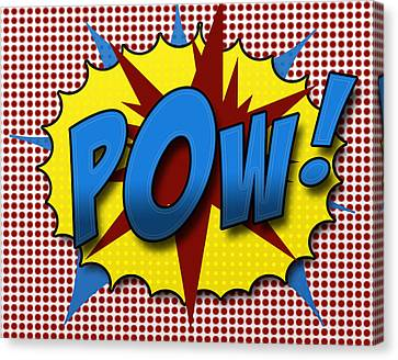 Cartoon Canvas Print featuring the digital art Pop Pow by Suzanne Barber