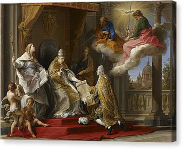 Pope Benedict Xiv Presenting The Encyclical Ex Omnibus To The Comte De Stainville Canvas Print by Pompeo Girolamo Batoni