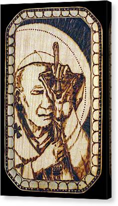 Pope St. John Paul II Pyrograph Canvas Print by Melissa Cavaliere