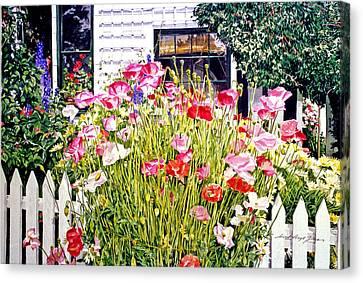 Poppies On Niagara Street Canvas Print by David Lloyd Glover