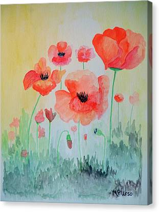 Poppies - Watercolor Canvas Print by Maria Urso