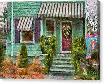 Porch - Westfield Nj - Welcome Friends Canvas Print by Mike Savad