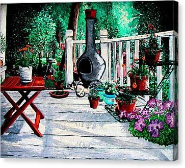 Porch Cat Sleeps Canvas Print by Laura Brightwood