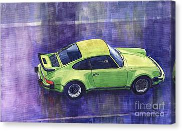 Porsche 911 Turbo Green Canvas Print by Yuriy  Shevchuk