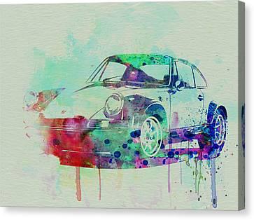 Porsche 911 Watercolor 2 Canvas Print by Naxart Studio