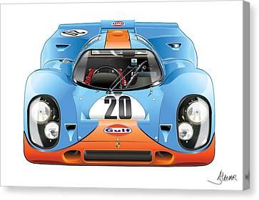 Porsche 917 Gulf On White Canvas Print by Alain Jamar