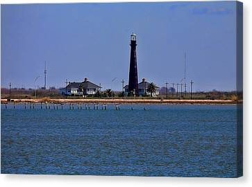 Port Bolivar Lighthouse From The Bay Canvas Print by Judy Vincent