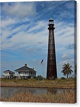 Port Bolivar Lighthouse Canvas Print by Judy Vincent