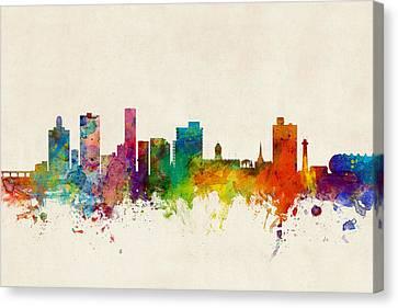 Port Elizabeth South Africa Skyline Canvas Print by Michael Tompsett
