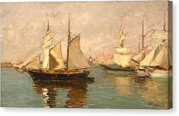 Port Of Genoa Canvas Print by Andrea Figari