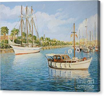 Port Vell In Barcelona Canvas Print by Kiril Stanchev