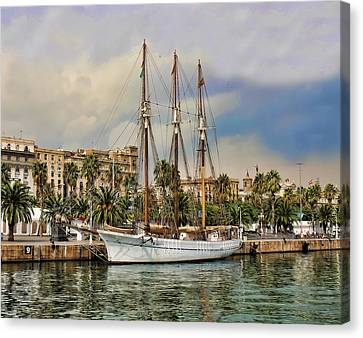 Port Vell  Near Barcelona Harbour Canvas Print by Alex Hardie